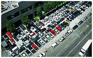 "This is an aerial shot of ""stack parking"" in a medical office building."